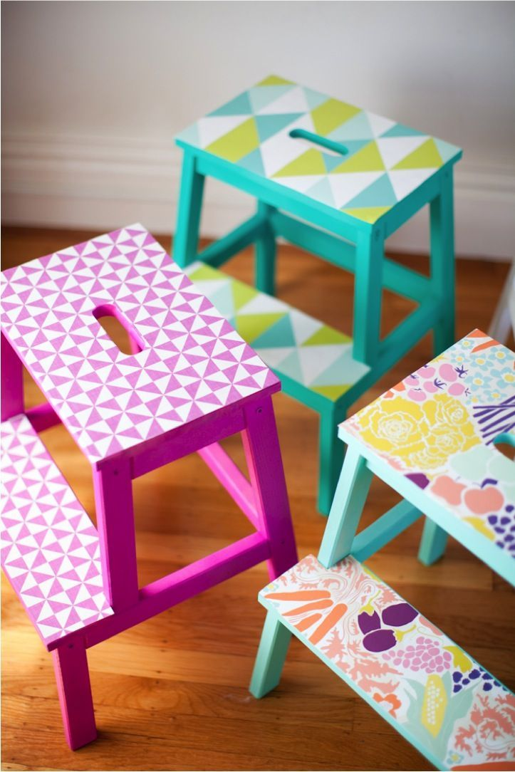 colourful stools from This Little Street I'm thinking to use wallpaper leftovers to decorate ikea chairs