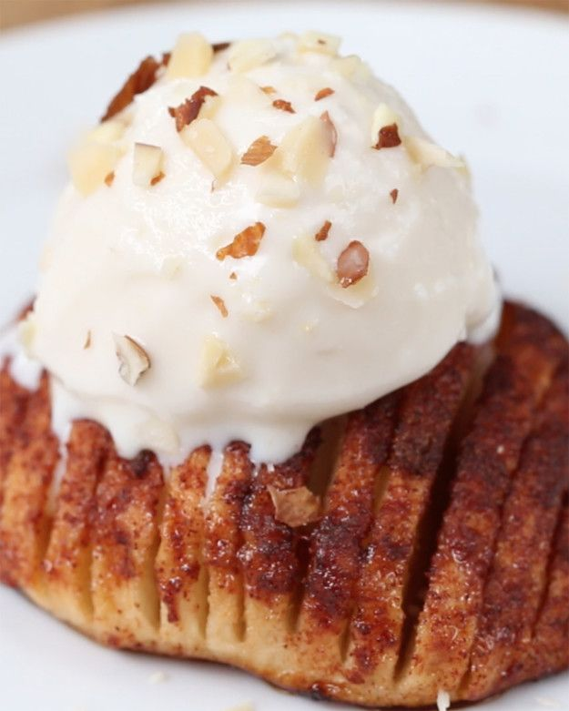 You should make these maple baked hasselback apples for for What to make with apples for dessert