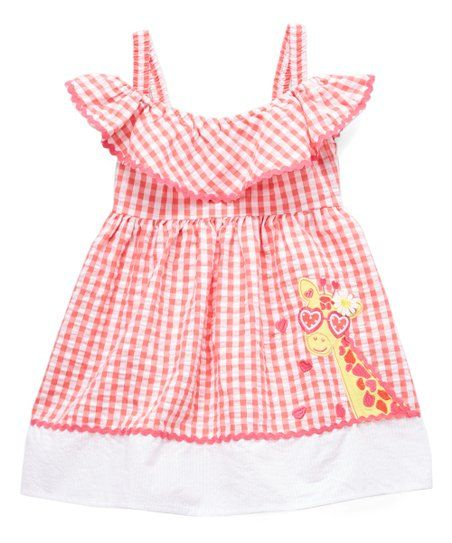 04a2f1c29c964 Nannette Kids Coral Giraffe Gingham Cutout Dress | 3/4) Eliyana ...