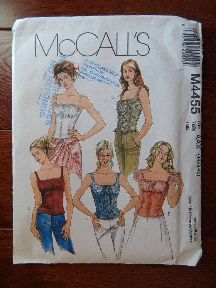 Corset Style Top Sewing Pattern/ Close Fitting, Zipper Back/ McCall's 4455/ Misses Sz 4, 6, 8, 10/ Steampunk Blouse Camisole  / Uncut by RedWickerBasket on Etsy