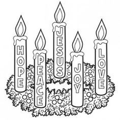This season is often marked by the Advent Wreath, a garland of evergreens with four candles. Although the main symbolism of the advent wreath is simply marking the progression of time, many churches attach themes to each candle, most often 'hope', 'faith', 'joy', and 'love'. This can be an activity for child to colour in and something the use to mark the passage of time .