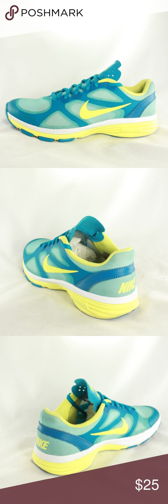 NIKE Dual Fusion TR Training Blue Yellow Sneakers Really great condition all around. Upper is 10/10 condition. Sole is 9.10 with minimal wear. Midsole and insole are mint with no issues.  Size 5.5 Nike Shoes Sneakers