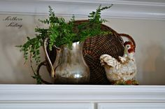 how to decorate kitchen on top cabinets - Google Search