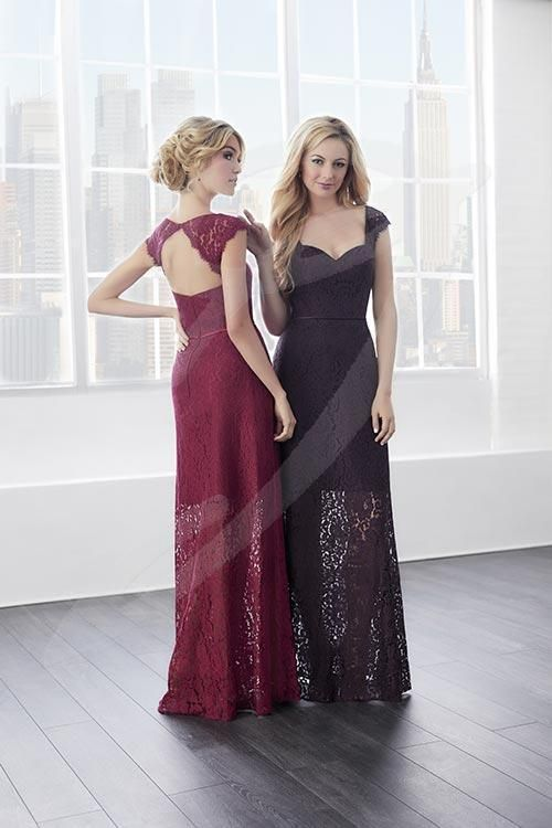 Balletts Bridal - 25567 - Bridesmaids by Jacquelin Bridals Canada - This long, A-line, and lace gown is an invitation to elegance. Equipped with a chic satin belt, lace cap-sleeves, and a long skirt that is sheer after its knee length lining. Complete with a sweetheart neckline, keyhole back, and zipper back.