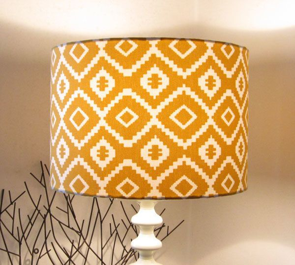Large lampshade mustard yellow white geometric design £38 00