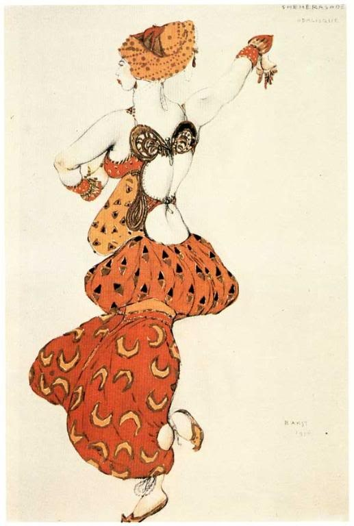 Léon Bakst - Costume of an odalisque. Sketch. Л.С.Бакст Эскиз костюма одалиски.