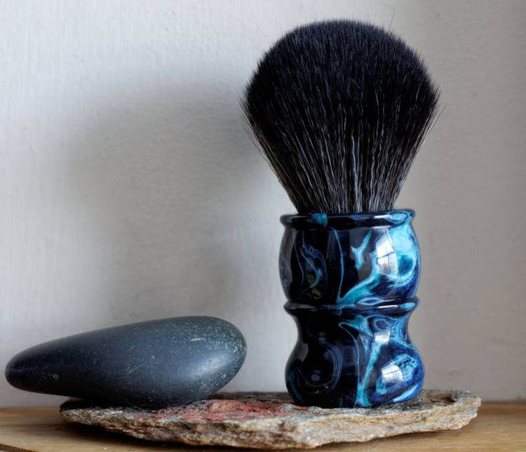 Shaving Brush - Watery Abyss Resin Lathe-Turned Handle with Synthetic BOSS Knot by LoveYourShave on Etsy
