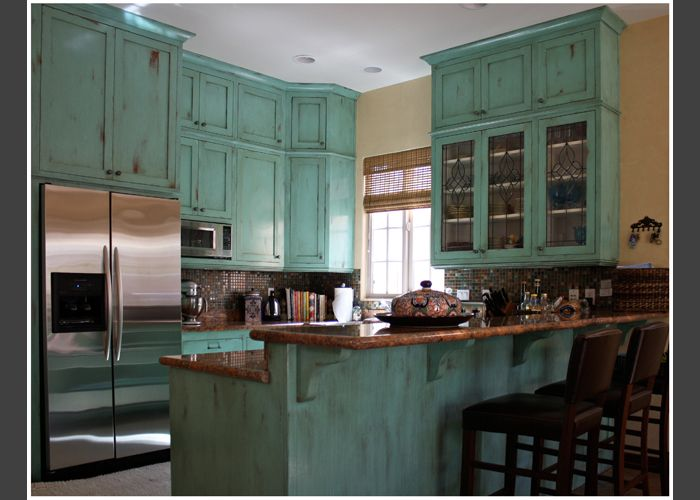 Blue Distressed Kitchen Cabinets | Property Ideas ...