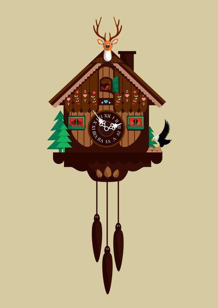 'Cuckoo+clock'+by+Emma+Barratt+on+artflakes.com+as+poster+or+art+print+$18.03