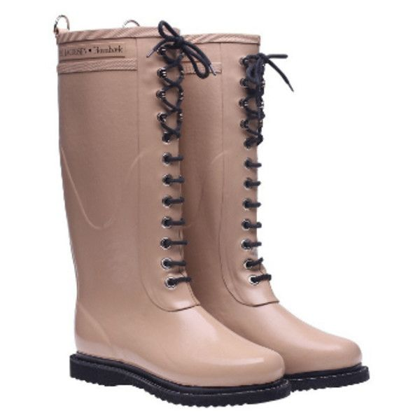 Ilse Jacobsen Ladies Rubber Boots - Camel (£74) ❤ liked on Polyvore featuring shoes, boots, light weight boots, wellington boots, camel shoes, rubber boots and wellies boots