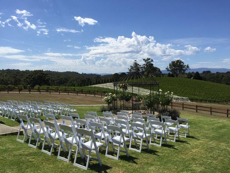 Ceremony set up around wrought iron gazebo at Yarra Ranges Estate. Winery Wedding | Yarra Valley Wedding | Dandenong Ranges Wedding