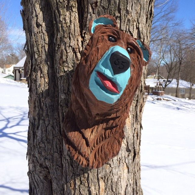 Best chainsaw carved folk art bear heads images on