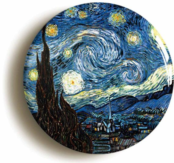 Starry Night By Vincent Van Gogh Badge Button Pin by PinItOnBadges