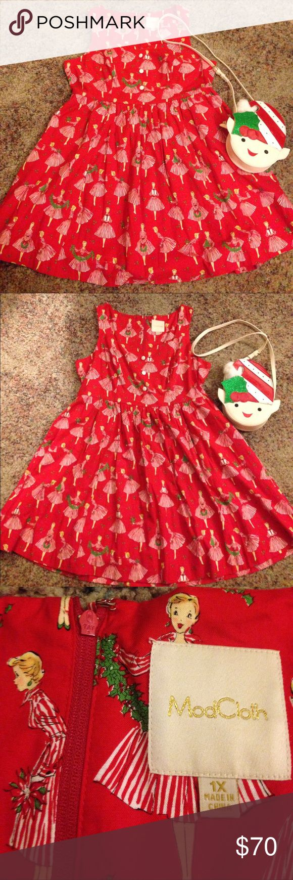 "Size 1x Christmas Print Dress EUC-only worn once. Has pockets. The clasp on one side is missing that's how it arrived directly from ModCloth. It was sold on there as ""Biking Through Brussels Dress in Holiday"" Approximate flat Measurements: Bust: 22in Waist: 19in Length: 37in Will not come with belt since I wore the belt the most with other dresses and has signs of wear. Modcloth Dresses"