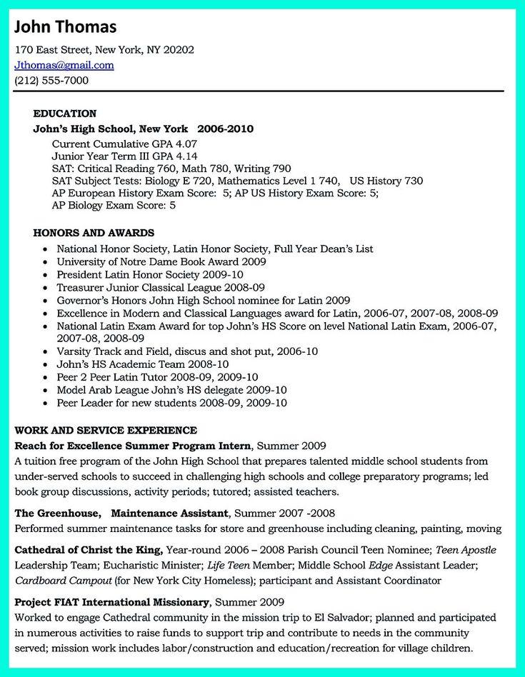 Best 25+ College resume ideas on Pinterest Resume skills, Resume - college resumes for high school seniors
