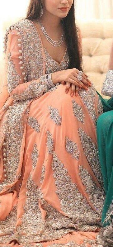peachy color with silver heavy work lehnga - pakistani walima reception bride