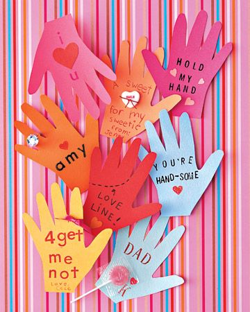 Hand-Shaped Valentines /Send a touching message with valentines traced from little hands.