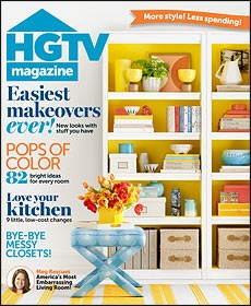 i love hgtv magazine but totally love the yellow paint with the white bookcase
