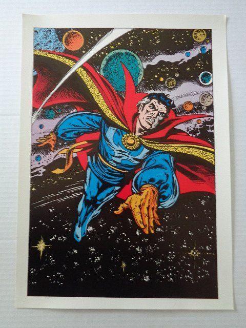 Scarce 1970's Dr Strange poster pin-up by Marvel Comics: Rare vintage original 1978 Marvel comic book superhero Doctor Strange pinup poster