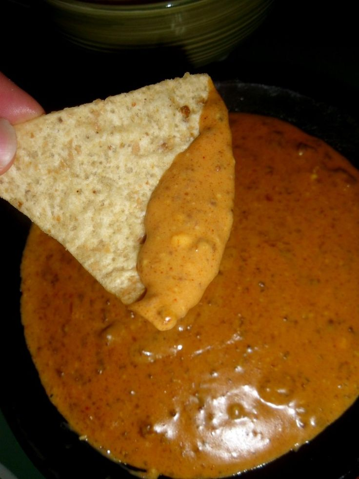 Chili's Skillet Queso Dip Copycat: Cube 1 lb. of Velvetta in skillet and add 1 (15 ounce) can Hormel No Beans Chili, 1 c. milk, 2 t. chili powder, 2 t. paprika, 1 Tbs. lime juice, 1/2 t. ground cayenne pepper, & 1/2 t. ground cumin. Cook over medium heat, stirring, until cheese is melted. Reduce to low and allow to simmer for best flavor.