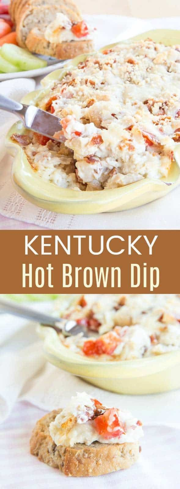 Kentucky Hot Brown Dip is a cheesy easy hot appetizer dip recipe with bacon, turkey, and cheese, just like a Kentucky Hot Brown sandwich.