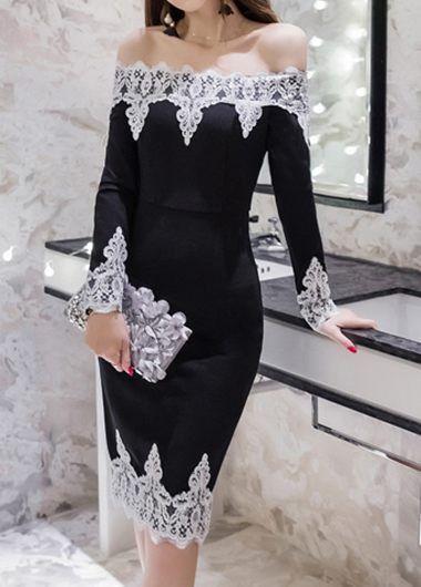 Long Sleeve Lace Panel Back Slit Black Bardot Dress | Rosewe.com - USD $31.74