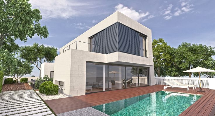 ideas de casas de exterior jardin piscina estilo