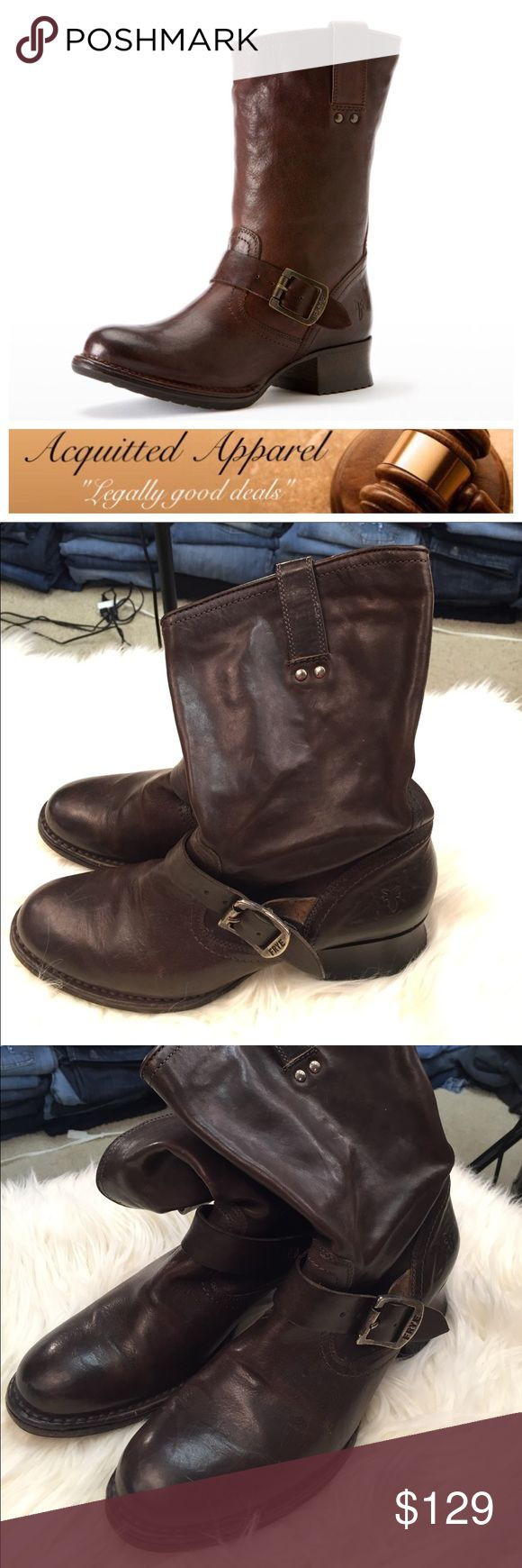 [Frye] Martina Engineer Short Leather Boots Excellent pre loved condition. The leather is still soft and in great condition. A few minor marks as photographed. Bottoms are excellent and show no real signs of wear. Great for any time of year. Real leather. 100% authentic. Size 8.5. Frye Shoes Ankle Boots & Booties
