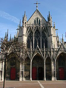 Facade of The Church of St Urbain, Troyes, showing the use of gables, pinnacles and open tracery