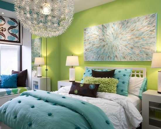 Bedroom Teen Girls Bedrooms Design, Pictures, Remodel, Decor and Ideas – page 16. I like the turquoise and green colors mixed together