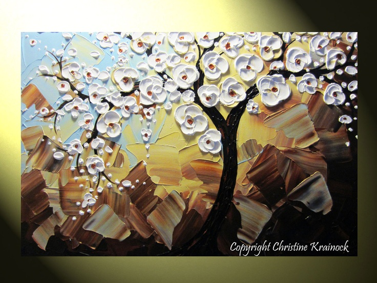 """Original Abstract Painting Tree Painting, Tree of Life Cherry Tree White, Modern Floral Painting Palette Knife Blue Brown 36x24"""" -Christine. $325.00, via Etsy."""