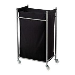 """GRUNDTAL laundry bin with casters, black, stainless steel Depth: 17 3/4 """" Height: 30 3/8 """" Width: 11 3/8 """" Depth: 45 cm Height: 77 cm Width: 29 cm"""