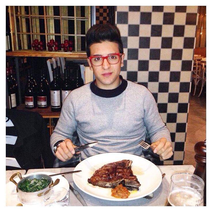 Piero having a steak dinner in Milan after working hard all day on a photoshoot!  January 2015.