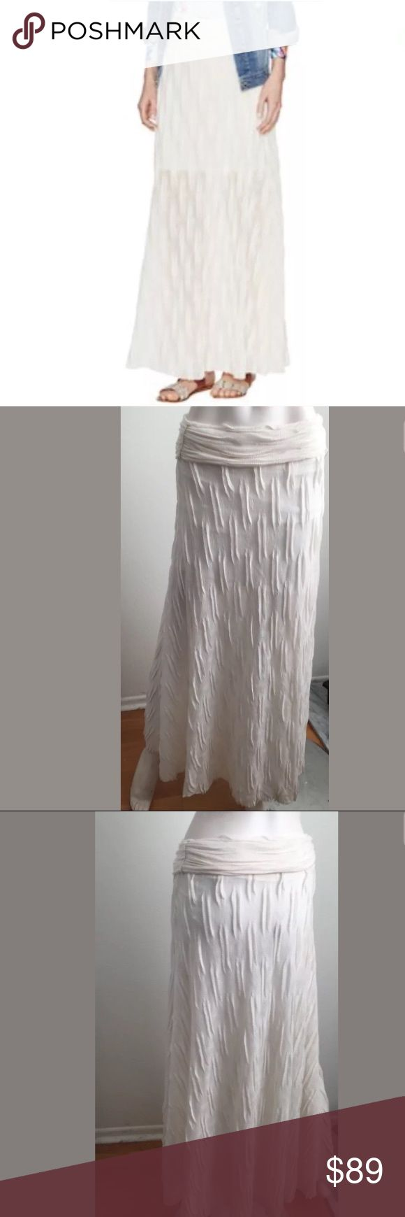 T-bags Ivory Gauzy Maxi Skirt Gorgeous gauzy textured skirt by T Bags Los Angeles. Maxi length. Off white / Ivory Color. Has partial lining. Perfect bohemians style skirt.  Has a small stain near the waistband. Barely noticeable. (See photos). T-Bags Skirts