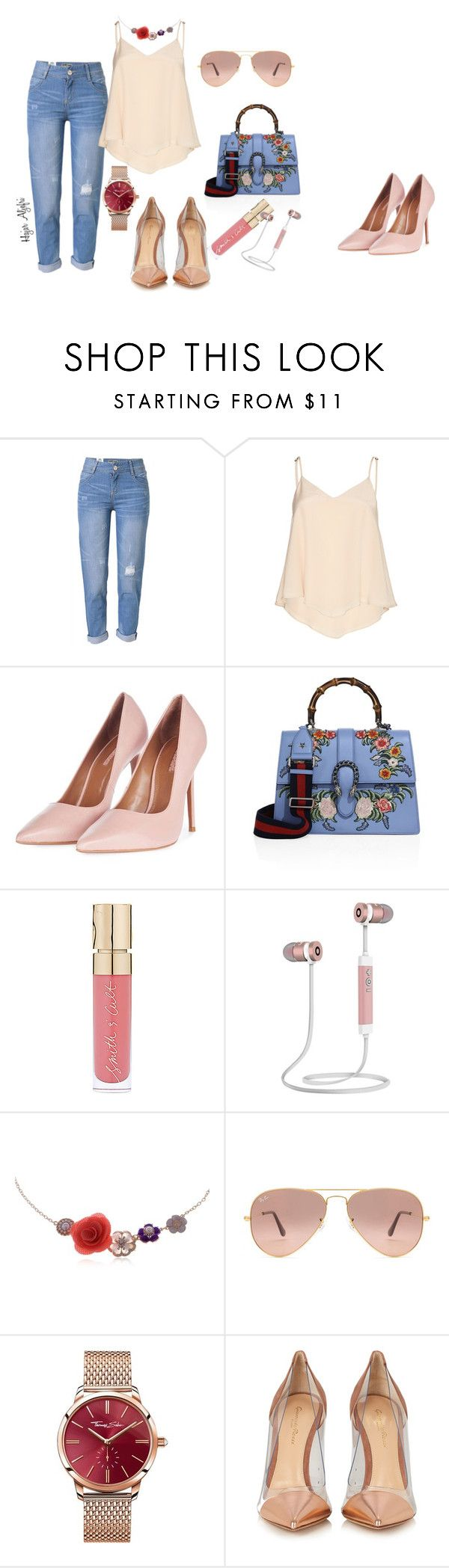 """""""Fashion"""" by hajar-111 on Polyvore featuring WithChic, Alice + Olivia, Topshop, Gucci, Smith & Cult, Ray-Ban, Thomas Sabo and Gianvito Rossi"""