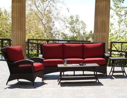 "Havana Brown Outdoor Patio Resin Wicker Sofa Lounge Chair 4 Piece Set With Sunbrella Fabric by urbandesignfurnishings.com. $1399.00. 4 piece set includes: 1-sofa, 1-lounge chair, 1-side table, and 1-coffee table.. Side Table: 18"" square, 20"" high. Seat cushions are 5"" thick and 27"" deep for better comfort.. Coffee Table: 41"" wide, 21"" deep, 18"" high.. Chair:32"" wide, 35"" deep, 37"" high.. Sofa: 80"" wide, 35"" deep, 37"" high.. The Havana Brown Sofa Set is crafted o..."
