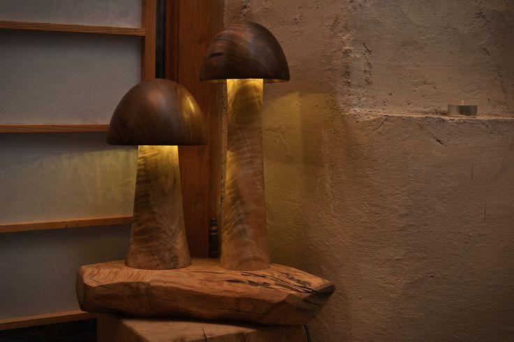 wooden mushrooms lamp