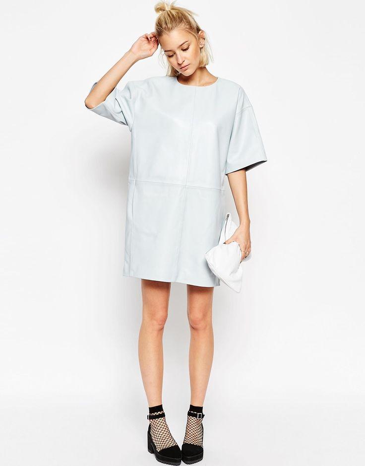 Image 4 ofASOS WHITE Leather Panel Dress
