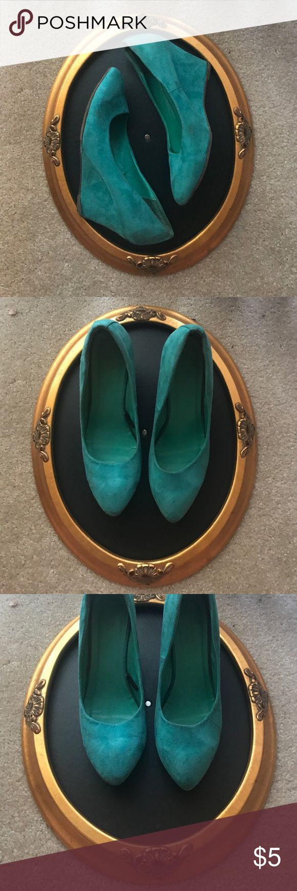 Teal wedges From forever 21, they show signs of wear but still cute and in good shape Forever 21 Shoes Heels