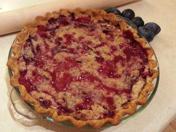Perfect Plum Pie...cooking right now!
