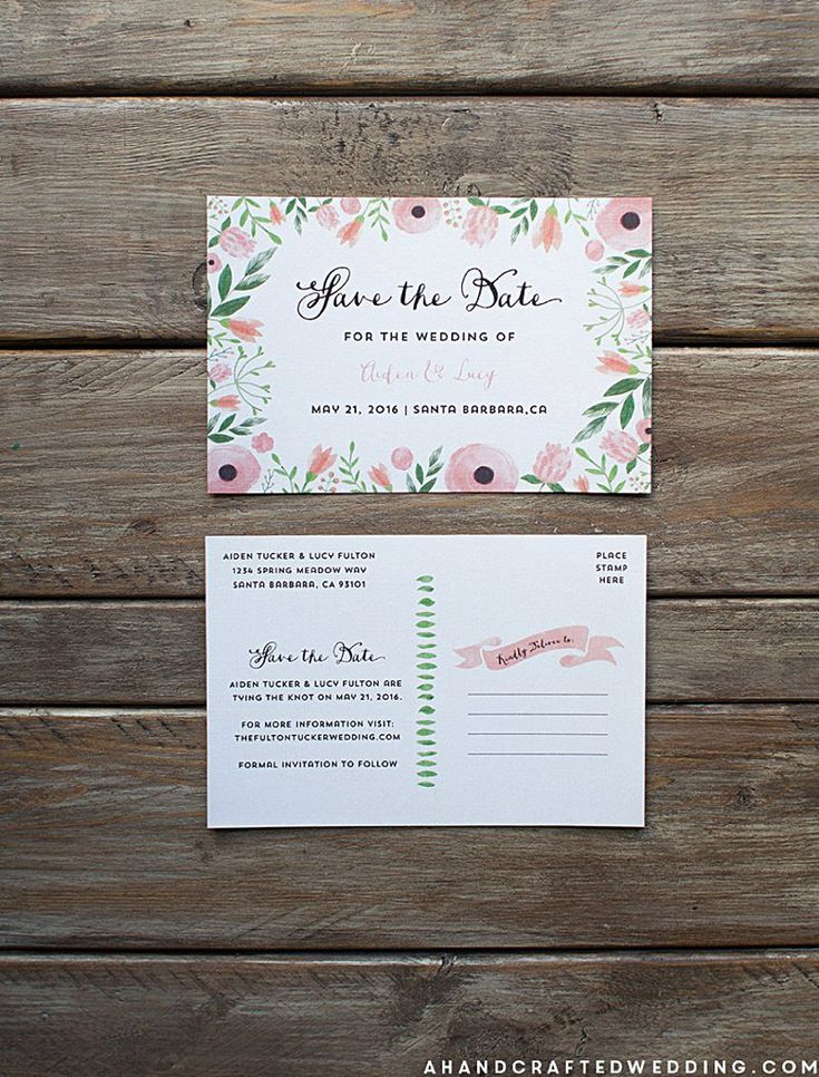 free wedding invitation templates country theme%0A How to make wedding invitations   Free DIY floral Save the Date Template
