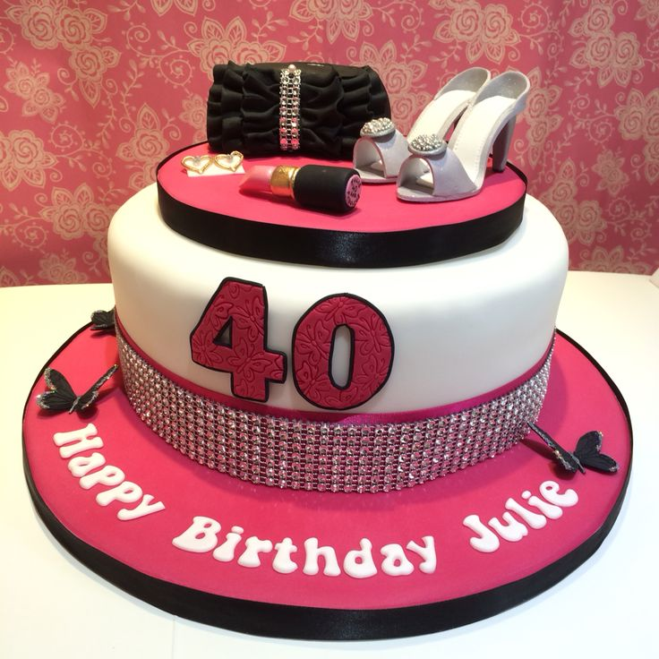 Pink, Black & White Ladies 40th Birthday cake with shoes, earrings, bling and butterflies