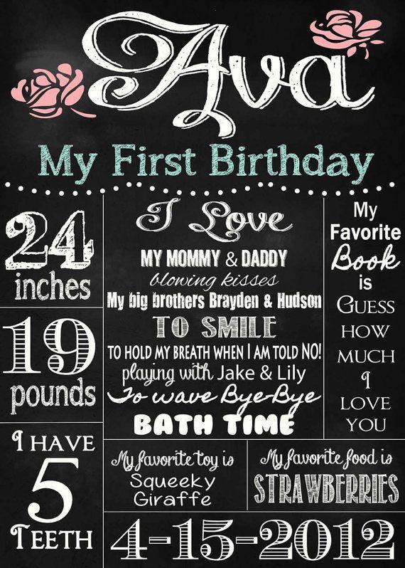 Shabby Chic Vintage 20x30 Chalkboard Sign Girls or Boys First Birthday Party Bridal or Baby Shower Wedding Digital