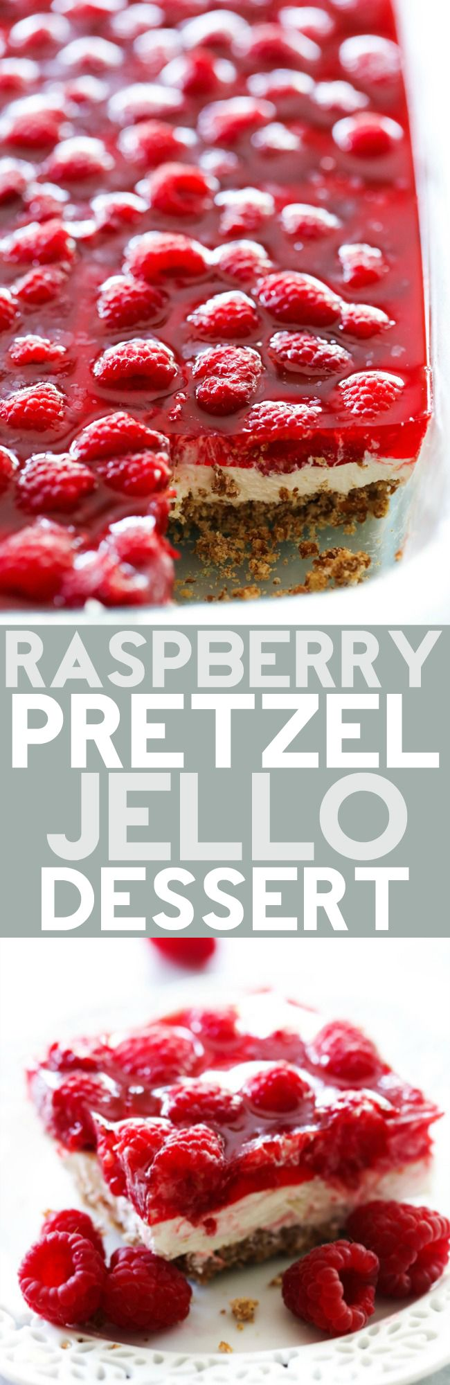 This Raspberry Pretzel Jello Dessert is the perfect combo of sweet and salty and a hint of tart. The three layers combine wonderfully for a crunchy, creamy and fruity treat that will have have everyone coming back for more!