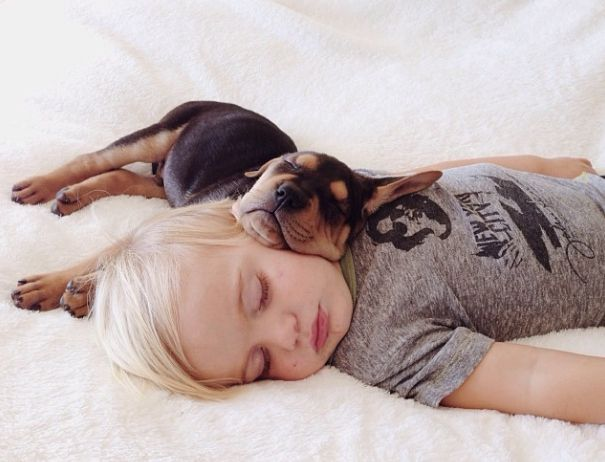 The result is…well, just as adorable as you'd imagine. | This Puppy And Baby Are The Most Adorable Nap Time Pals