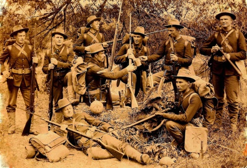 This is a photo of my great uncle's South Dakota regiment in the Spanish American War in the Philippines.  My great uncle (back right) was Levi Heald, of Hawarden, Iowa, who, at the beginning of the war in 1898, was sent to defend the people of the country against the Rebels that were trying to take down the country.    #ancestry #genealogy #familytree