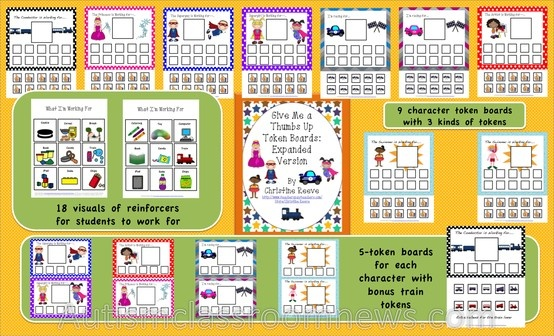Token systems for elementary students with special needs.Great for kids with autism with lots of cool themes. http://www.teacherspayteachers.com/Product/Thumbs-Up-Token-Systems-for-Behavior-Management-autism-special-education
