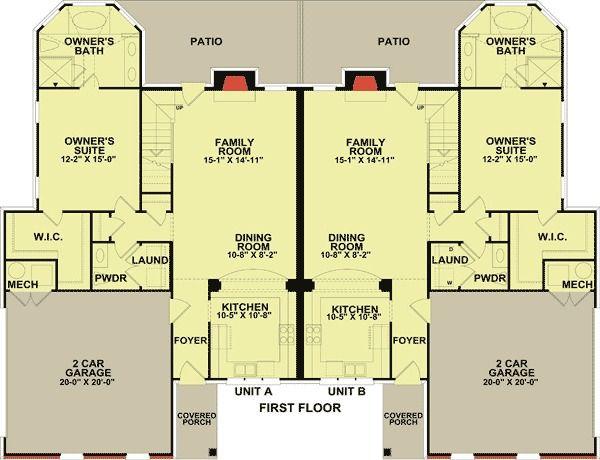 Plan 83124dc 2 Unit Townhouse Design With Back Patio Duplex Floor Plans Duplex Plans Townhouse Designs