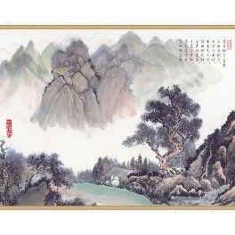 """Papier peint chinois - """"Paysage avec poème - Dans la montagne"""""""
