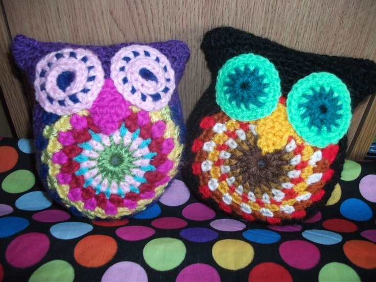 Handmade crochet owl plush in 2 different colourways  http://www.etsy.com/shop/threadsnshreds